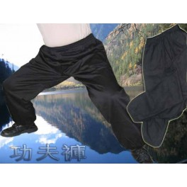 100% Raw silk kung fu pants black
