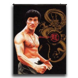 Bruce Lee's Wall Scroll With Dragon On Side