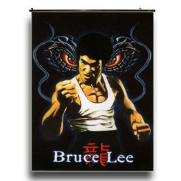 Bruce Lee's Wall Scroll With Twin Dragons Background
