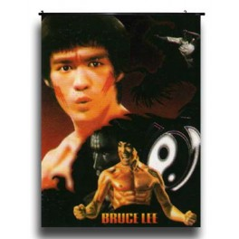 Bruce Lee's Wall Scroll With Flying Kick