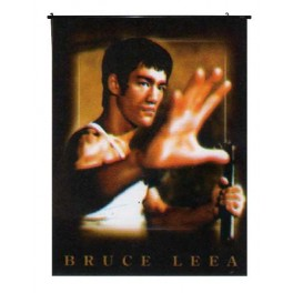 Bruce Lee's Wall Scroll Holding a Chuck