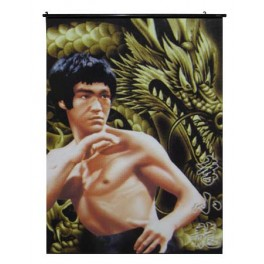 Bruce Lee's Wall Scroll With  Golden Dragon Background
