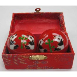 "Chinese Health Ball  Red  With Panda Design 2"" Dia"
