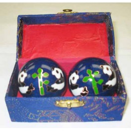 "Chinese Health Ball Blue With Panda Design 2"" Dia"