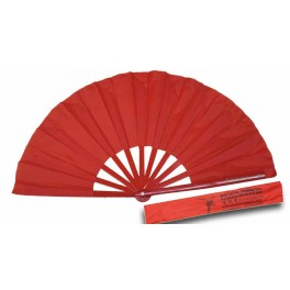 Plastic Plain Red Kung Fu Fan with Carring Case