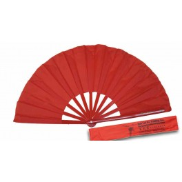 Bamboo Plain Red Kung Fu Fan with Carring Case
