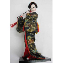 """12""""H Chinese Oriental Doll With Wooden Base Black"""