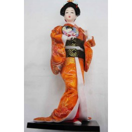 "12""H Chinese Oriental Doll With Wooden Base Gold"
