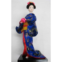 """12""""H Chinese Oriental Doll With Wooden Base Blue"""