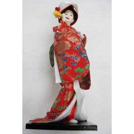 "12""H Chinese Oriental Doll With Wooden Base Red"